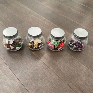 Craft Embellishments in Glass Jars